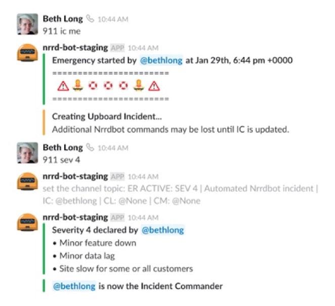 Example incident declared in Slack