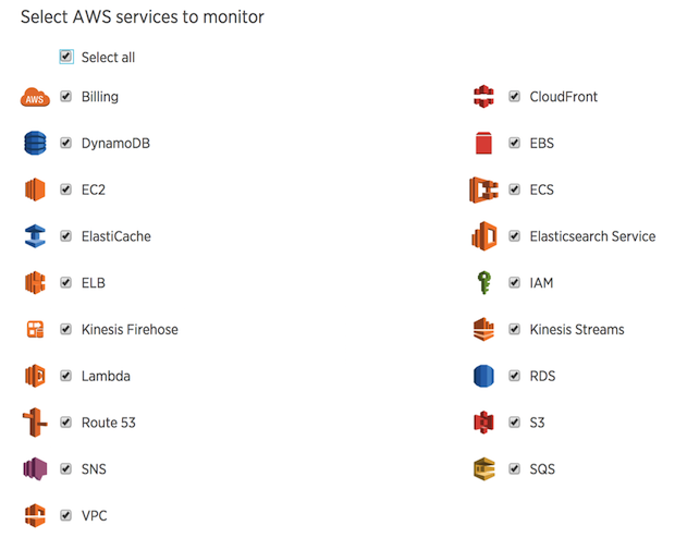 New Relic Infrastructure offers native monitoring for popular AWS services including Amazon CloudFront, DynamoDB, EC2 Container Service, and many more.